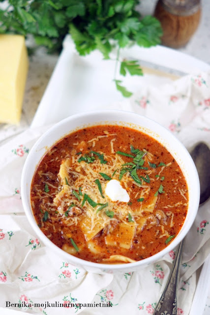 zupa, lazania, obiad, pomidory, bernika, kulinarny pamietnik