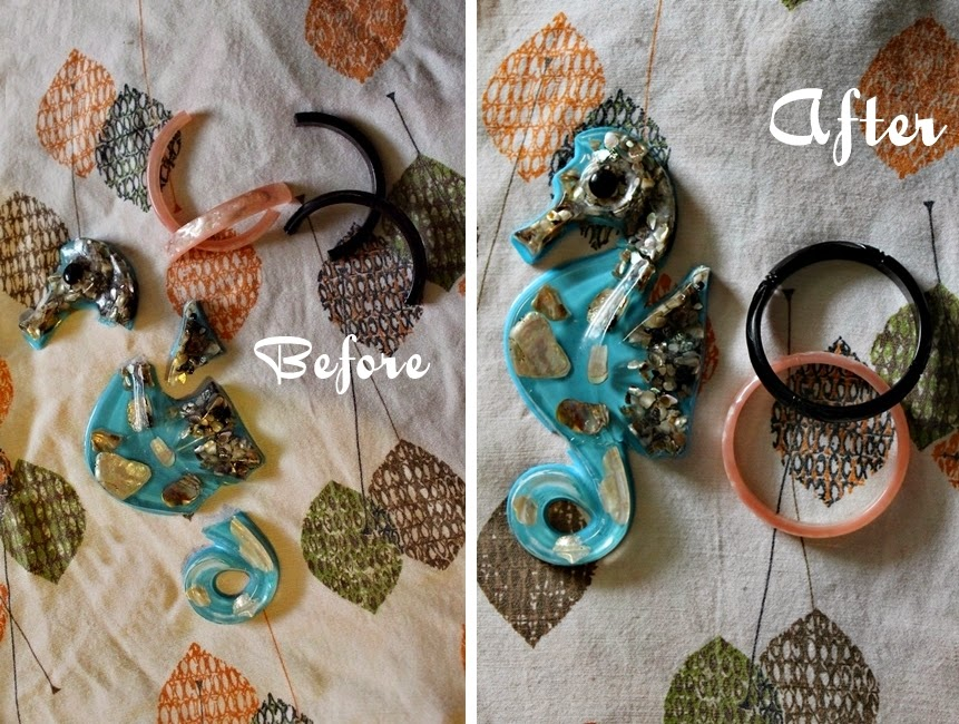 how to fix broken lucite wall hangings and bangle bracelets