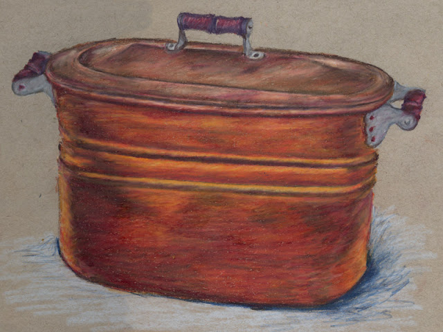 Colored pencil drawing of copper tub