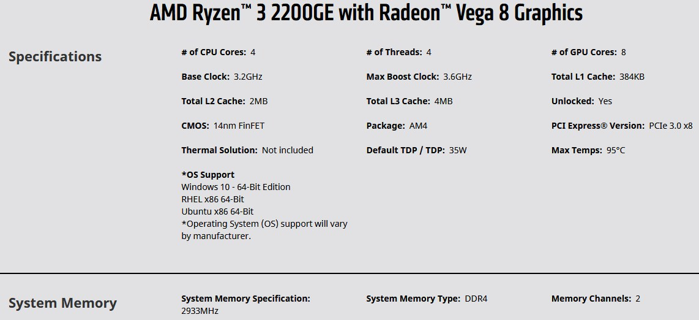 Ryzen 3 2200GE