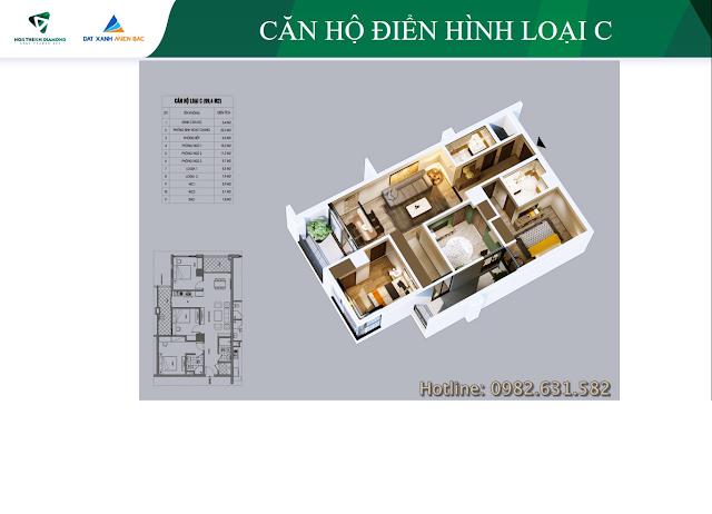 Chi tiết căn hộ C dự án Northern Diamond Long Biên