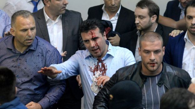 Macedonia parliament stormed by protesters in Skopje