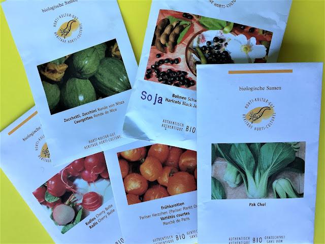 Biologische Samen für Gemüse in Samentüten