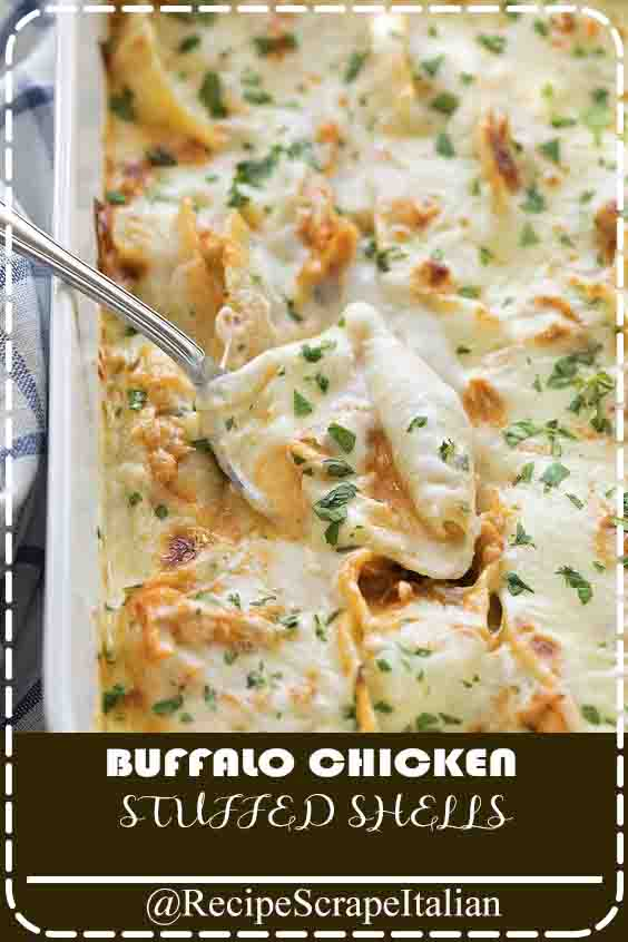 BUFFALO CHICKEN STUFFED SHELLS #buffalochicken #steak #thaksgiving