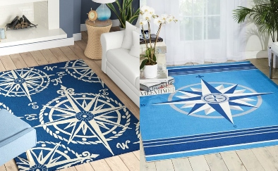Navy Compass Rose Area Rug