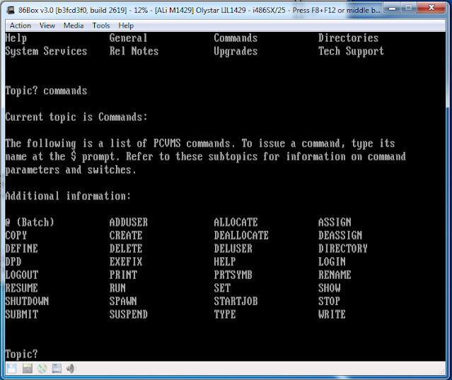 PCVMS operating system on DOS