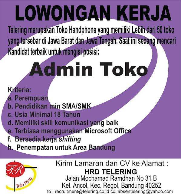 Lowongan Kerja Admin Toko Tele Ring Bandung