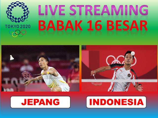 Link Live Streaming Olimpiade Badminton Tunggal Putra : Kanta Tsuneyama (Jepang) Vs Anthony Ginting (Indonesia) Jam 15.45 WIB