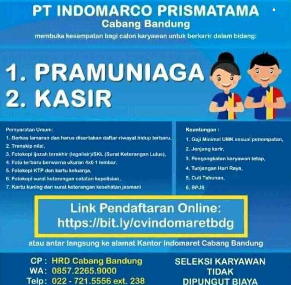 Lowongan Kerja Indomaret Bandung 2021