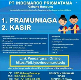 Lowongan Kerja Indomaret Bandung Lulusan Sma Smk D3 S1 Lowongankerjacareer Com