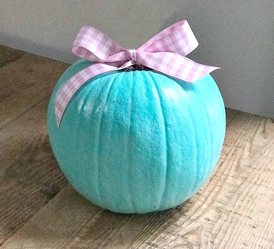 Teal pumpkin with gingham bow