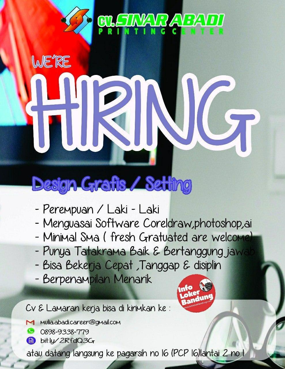 Lowongan Kerja CV. Sinar Abadi Printing Center Bandung Februari 2020