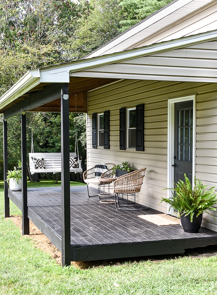 Black stained deck and modern deck decor
