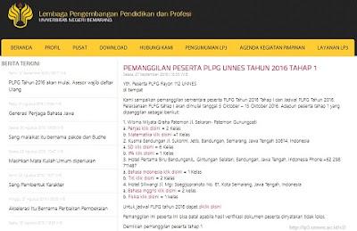 Cek Info Terbaru PLPG Sertifikasi Guru 2016 Rayon Universitas Negeri Semarang (UNNES)