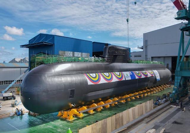 Ceremonia de botadura del tercer y último submarino KSS III Batch 1 de la Armada de la República de Corea, celebrada  en los astilleros de HHI en Ulsan.