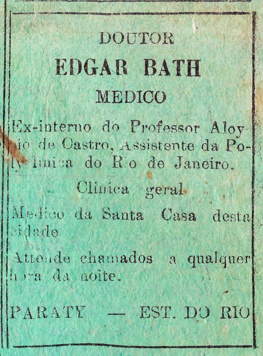 Propaganda antiga do Dr. Edgar Bath promovendo seu atendimento médico em 1932