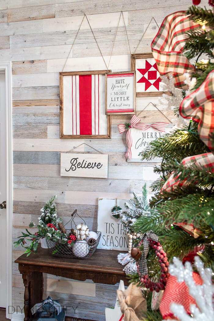 Christmas gallery wall with DIY signs