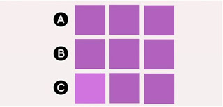 In which row can you find a different colored square?