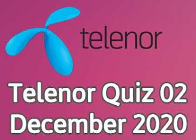 Telenor Quiz 2 December 2020 || Telenor answers today 2 Dec