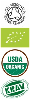Eco-labels relevant for alcohol, including Soil Association, USDA, EU Organic and KRAV