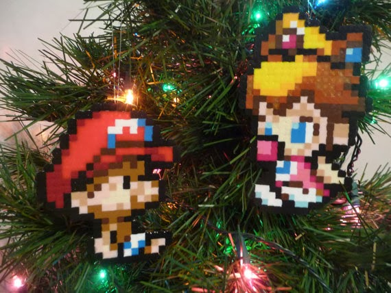 Christmas perler bead ornament set - baby Mario and baby Princess Peach