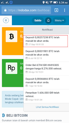 Bukti Pembayaran Bitcoin Gratis dari Aplikasi Pivot Android