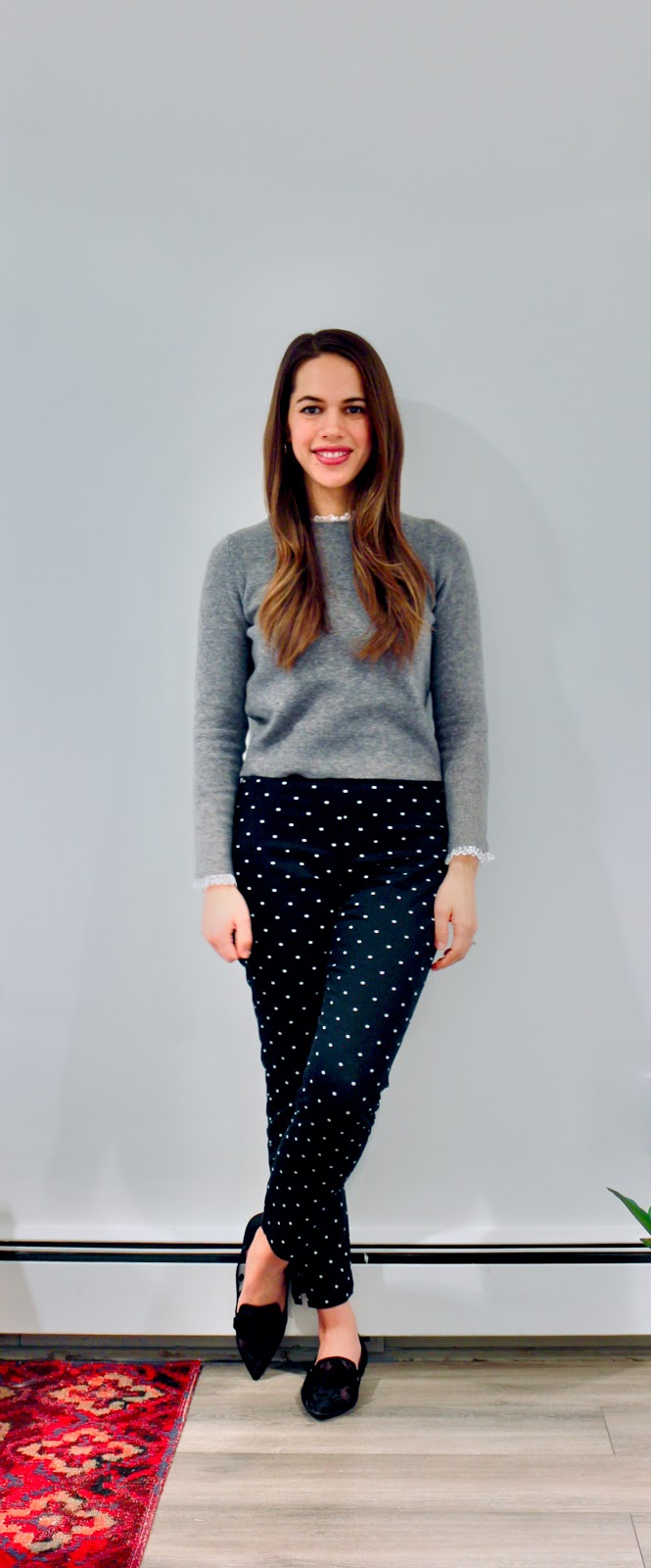 Jules in Flats - Polka Dot Pants & Mesh Dot Collar Sweater (Business Casual Winter Workwear on a Budget)