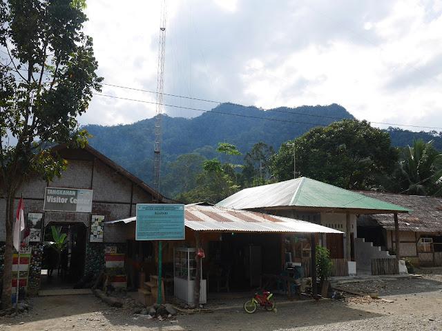 Tangkahan Visitor Center beserta pemandangan alam dibelakangnya