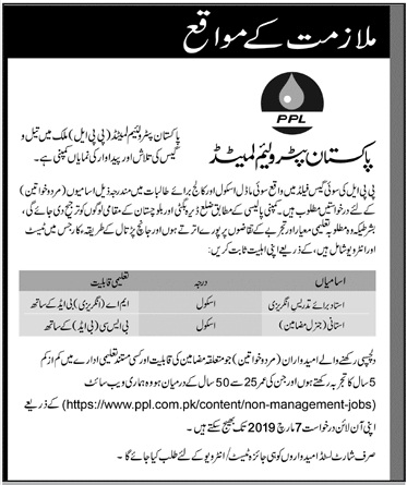 Pakistan Petroleum Limited (PPL) Jobs 2019 for Teachers at Sui Model School & College for Women Latest