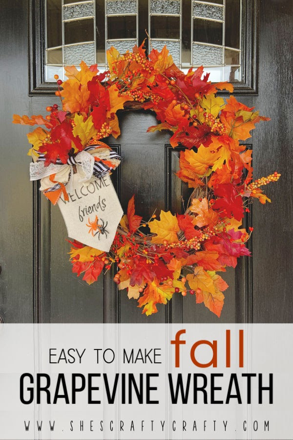 Easy to Make Grapevine Wreath for Fall  |  Use items that are readily available to make this wreath to hang on your front door!  |  She's Crafty