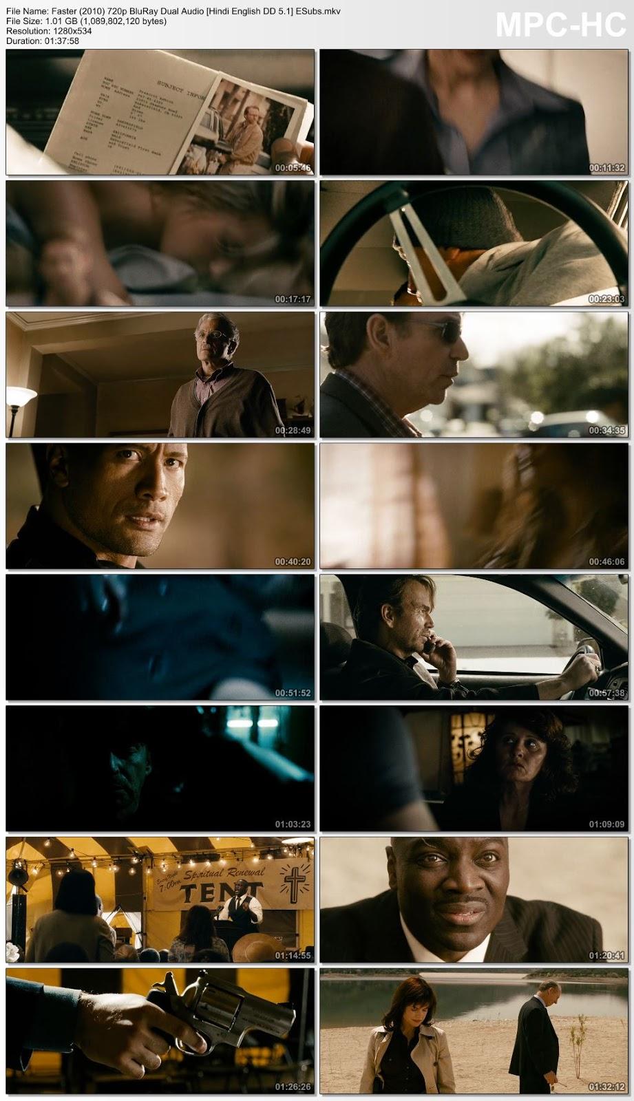 Faster (2010) 720p BluRay Dual Audio [Hindi – English DD 5.1] ESubs 1.1GB Desirehub