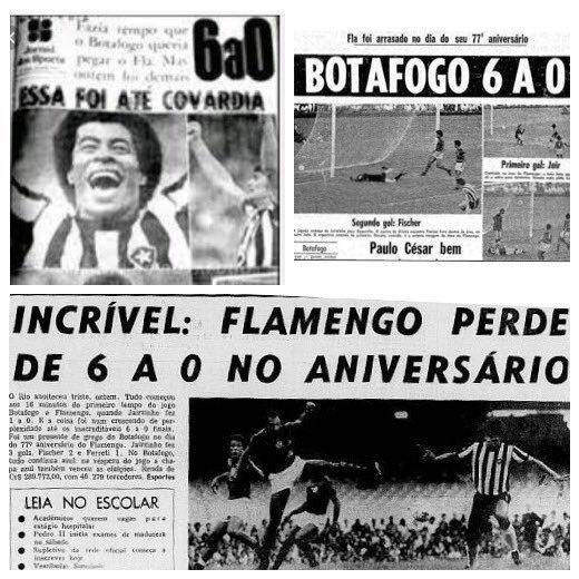 """O Flamengo surgiu do despeito e da inveja. Calma! Vou explicar: em fins do século XIX o esporte mais popular no Brasil era o remo. No intuito de participar das concorridas regatas da época, em 12/08/1894, alguns jovens de Botafogo fundaram o Club de Regatas Botafogo. Logo começaram, os belos guapos alvinegros, a fazer sucesso entre as meninas não só do bairro que moravam, mas também entre as moçoilas do bairro vizinho do Flamengo. Incomodados com a situação e com inveja do sucesso dos remadores alvinegros com as gatinhas (na verdade urubuzinhas) de seu bairro, no ano seguinte ( 15/11/1895 ), alguns rapazes do Flamengo criaram o Club de Regatas Urubu, desculpem, Flamengo. Nasceram, portanto, os urubus, do despeito, da inveja, e dos chifres que levavam dos remadores do Glorioso.   Invejosos e chifrudos, assim veio ao mundo a urubuzada!  E, como não poderia deixar de ser, a pacata turba da """"NaSSão"""" já estreou fazendo lambança: """"Na primeira regata disputada pelo recém-fundado Club de Regatas do Flamengo, os remadores deste bateram em uma boia de sinalização e adernaram, tendo sido salvos por uma guarnição do Botafogo, que rebocou o barco rubro-negro até a linha de chegada.""""  Até o dia de hoje, nem ao menos um muito obrigado como forma de agradecimento por sermos os responsáveis (na verdade, irresponsáveis) por sua existência recebemos dos pacatos e ordeiros membros do pacífico e cordato clube.  Uma perguntinha que não quer calar: você salvaria os urubus náufragos ou faria de conta que nem os viu se afogando?  Cansados de esperar por ao menos um muito obrigado deles, em 15 de novembro de 1972 resolvemos nos vingar, e como presente de aniversário metemos-lhes o maior 6 x 0 da história do futebol mundial.  Neste jogo, o grande Jairzinho fez o gol de letra mais bonito de todos os tempos! Foi  o nosso quinto gol na sova histórica. De beleza tão sublime foi o gol do do Jair, que antes de ser letra foi, a bem da verdade, um dos mais belos poemas já """"escritos"""" em um campo de fu"""
