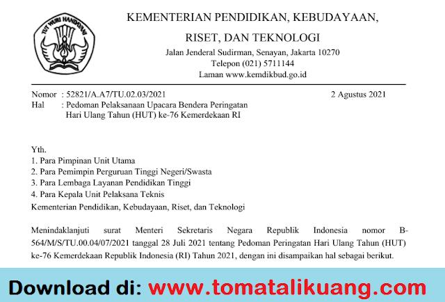 pedoman upacara bendera hut ke 76 kemerdekaan ri tahun 2021 pdf kemendikbudristek ri tomatalikuang.com