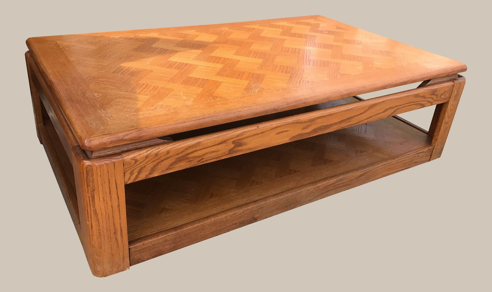 Uhuru Furniture & Collectibles: Oak Coffee Table $75. Full resolution‎  img, nominally Width 1600 Height 951 pixels, img with #C76D04.