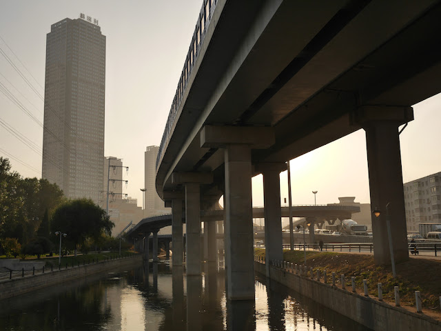 elevated highway over a river in Shenyang, China