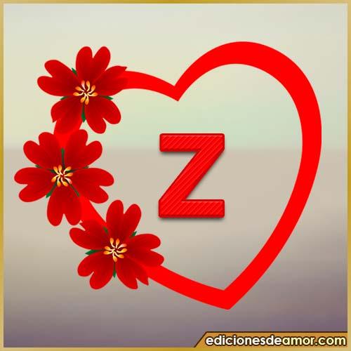 corazón de flores con letra Z