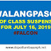 #WalangPasok; List of class suspensions for Tuesday, July 16