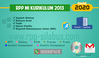 RPP MI Kurikulum 2013 revisi 2020 Format satu lembar