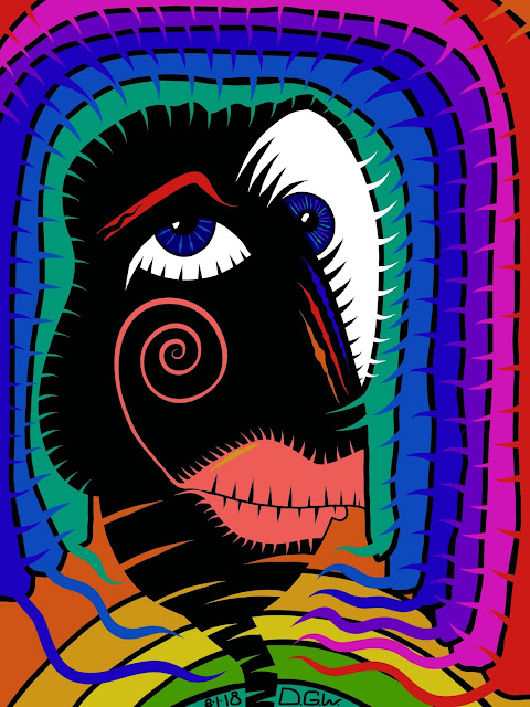 art of abstract surreal woman with rainbow hair and black face