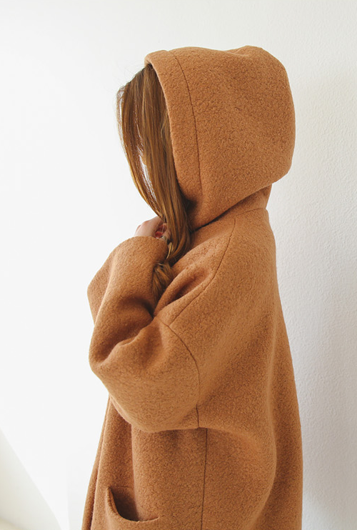 Drawstring Hooded Fleece Jacket