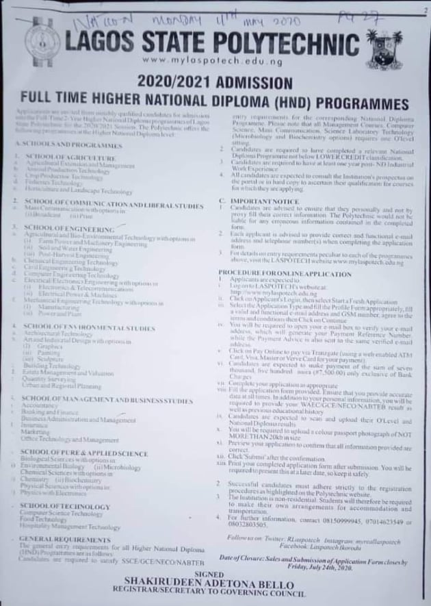 LASPOTECH HND Full-Time Admission Form 2020/2021