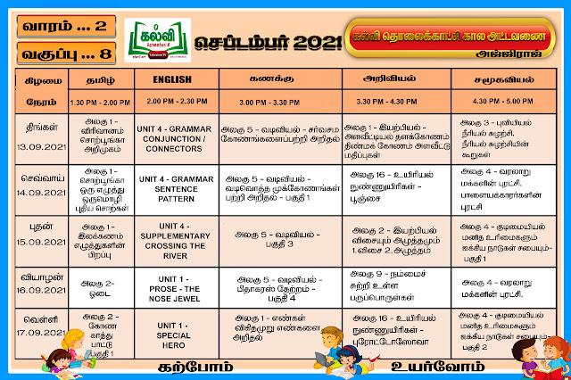 கல்வி தொலைகாட்சி கால அட்டவணை வகுப்பு -8- வாரம் -2 - நாள் 13.9.2021 முதல் 17.9.2021 வரை