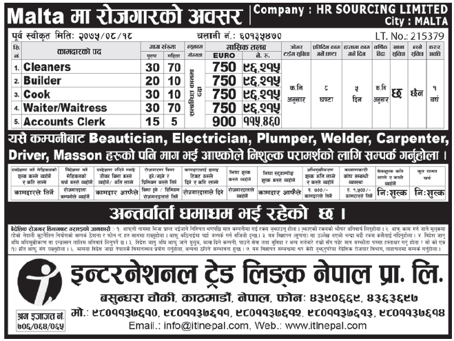 Jobs in Malta for Nepali, Salary Rs 1,15,460