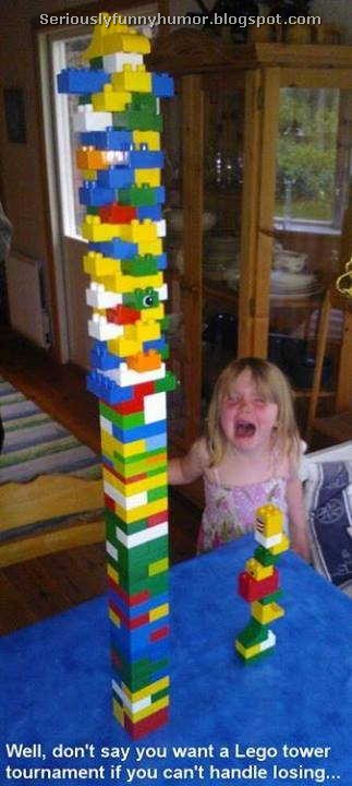 Well, don't say you want a Lego tower tournament if you can't handle losing! LOL