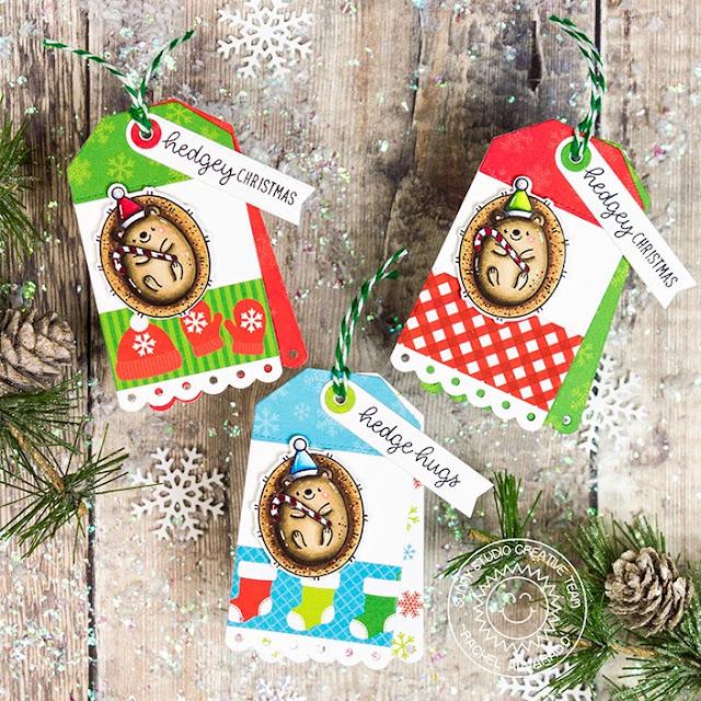 Sunny Studio Blog: Handmade Hedgehog Holiday Christmas Card by Rachel Alvarado (using Hedgey Holiday Stamps, Build-A-Tag 2 Dies & Very Merry Paper)