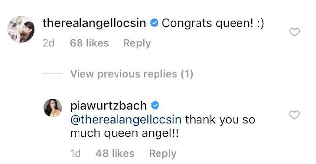 Angel Locsin And Pia Wurtzbach Exchanged Messages And Called Each Other 'Queen'