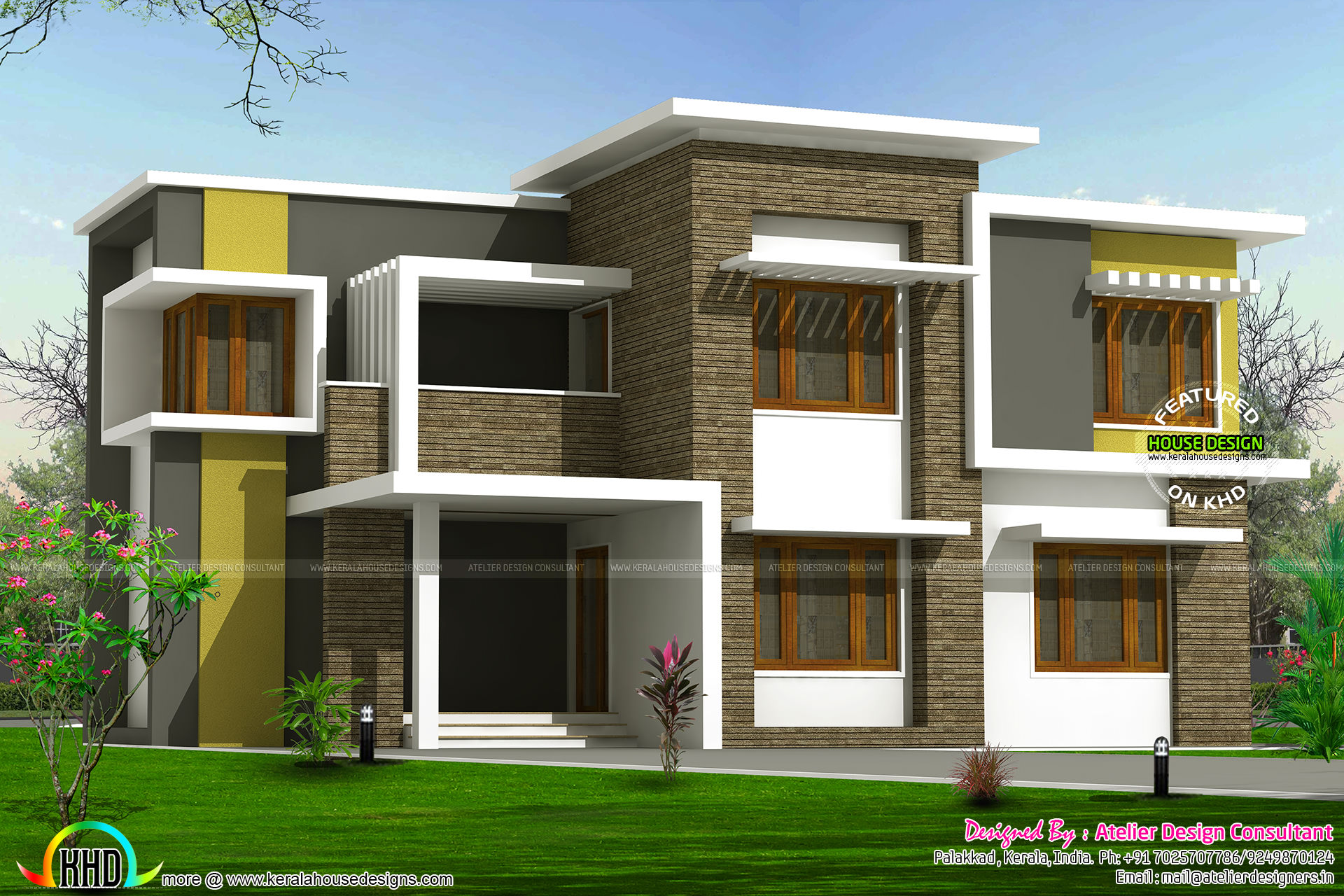 2300 sq ft box type home kerala home design and floor plans for Modern box type house design