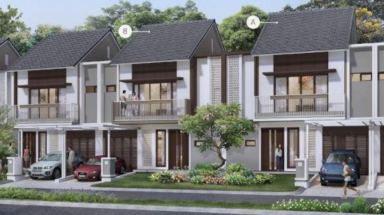 tampak depan rumah minimalis ukuran 9x15 meter 5 kamar tidur 2 lantai