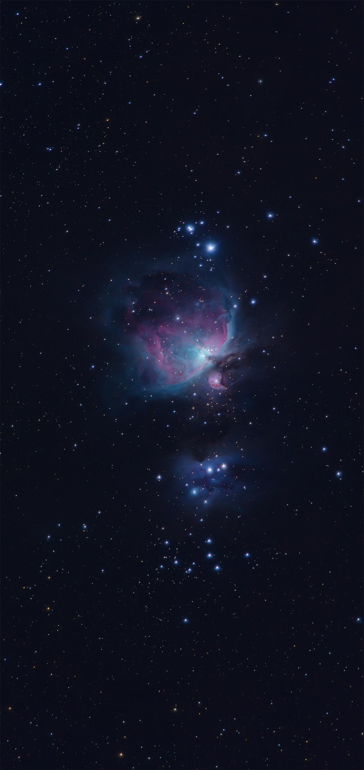 The Orion Nebula in the sky above Lake Sonoma phone wallpaper 4k