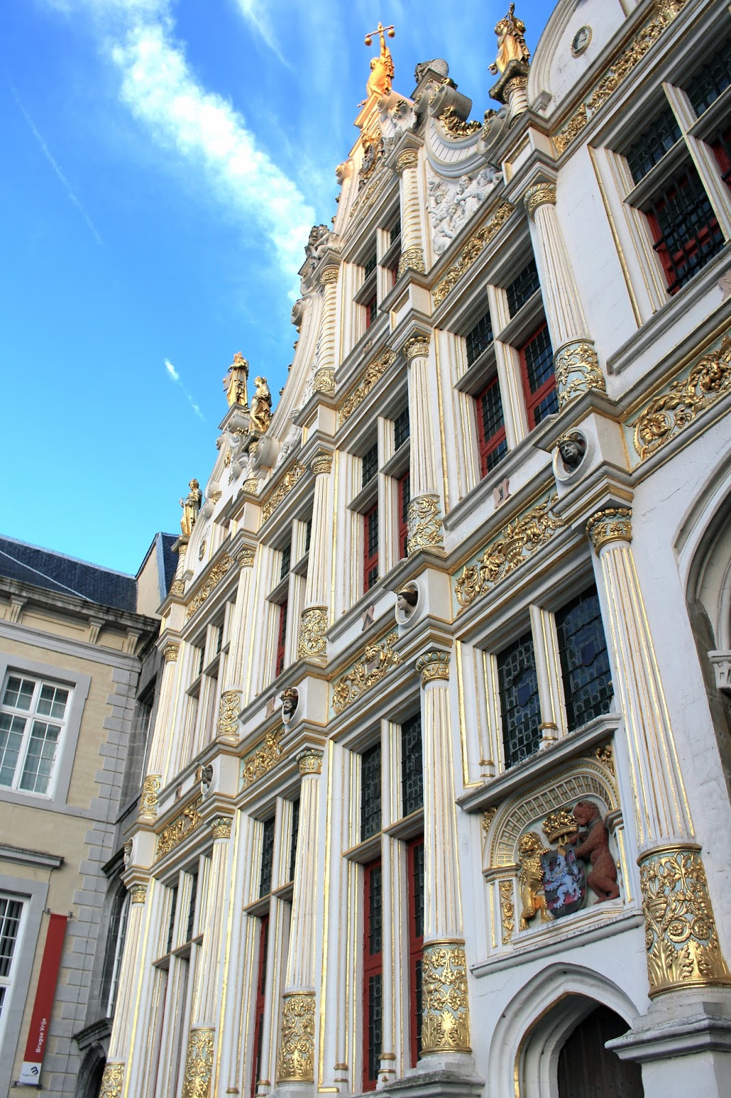 Beautiful white and gold architecture in Bruges Belgium